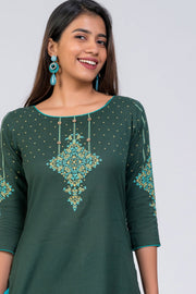 Maybell-Floral printed kurta - Dark Green