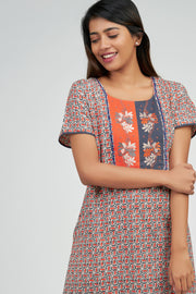 Maybell-Ditsy line printed nighty - Orange1