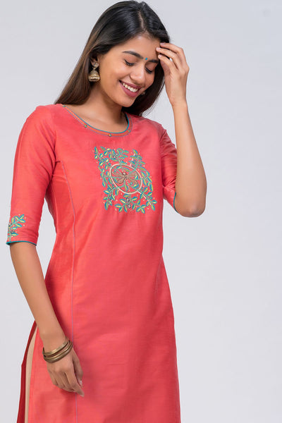 Maybell-Dragonfly embroidered kurta - Peach4