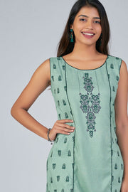 Maybell-Ikat printed kurta -Green1