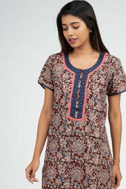 Maybell-Kalamkari Printed Nighty -Brown3