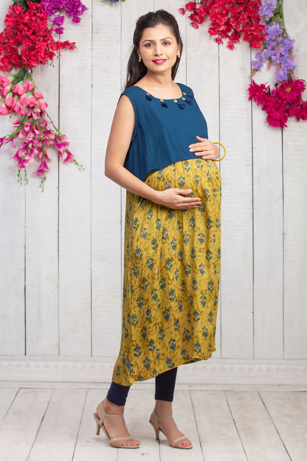All Over Printed & Overlapped Panel Maternity Kurta - Mustard & Navy