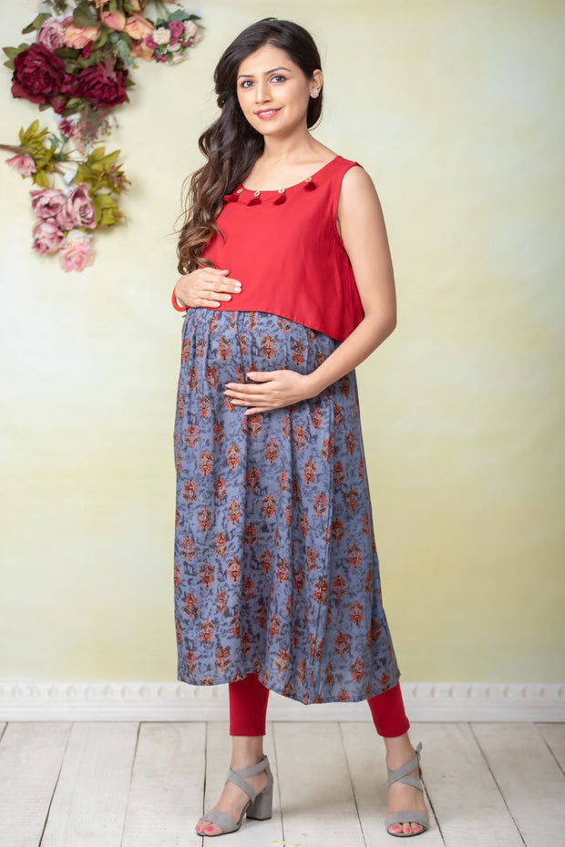 All Over Printed & Overlapped Panel Maternity Kurta - Grey & Red