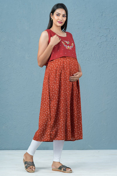 Floral Embroidered & Printed Maternity Kurta - Rust