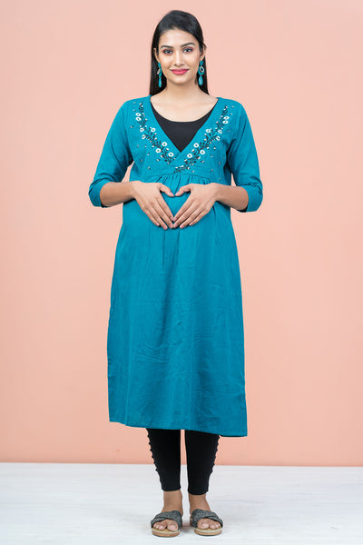 Clipart Floral Embroidered with Pleated Maternity Kurta - Blue