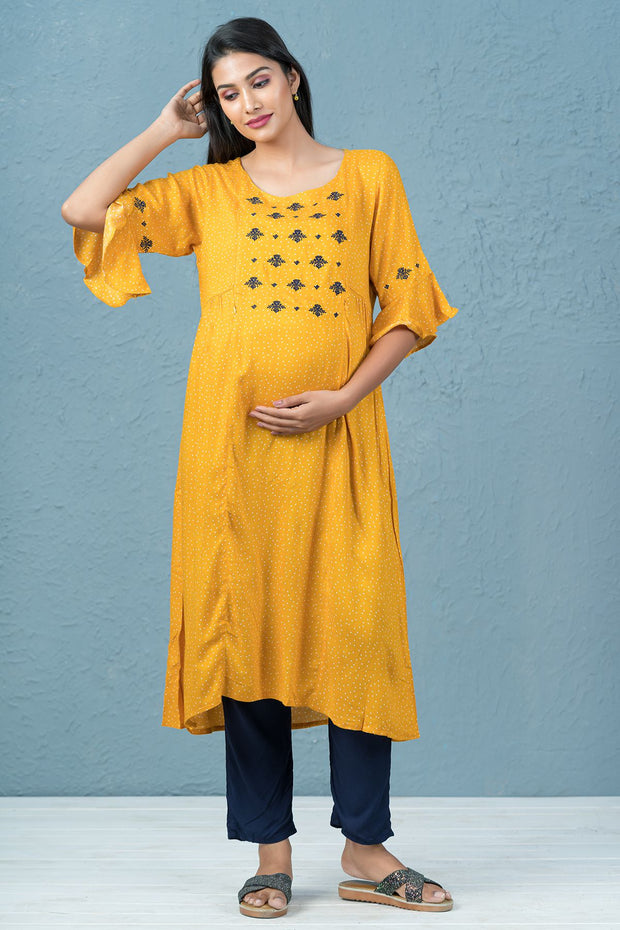 Polka Dot Printed & Embroidered Maternity Kurta - Yellow