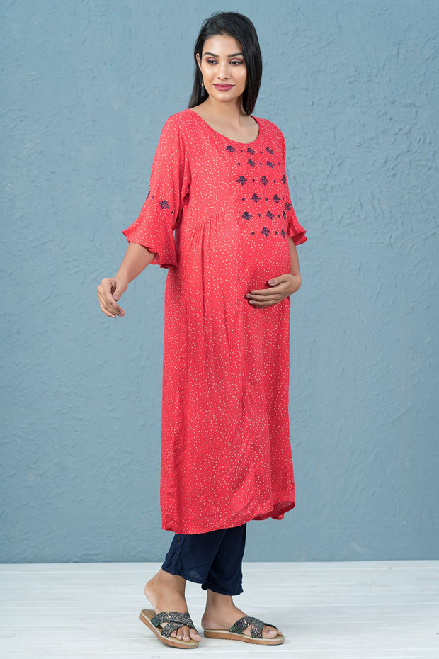 Polka Dot Printed & Embroidered Maternity Kurta - Red