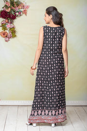 All Over Ethnic Floral Printed Maternity & Nursing Maxi Dress – Black - Maybell Womens Fashion