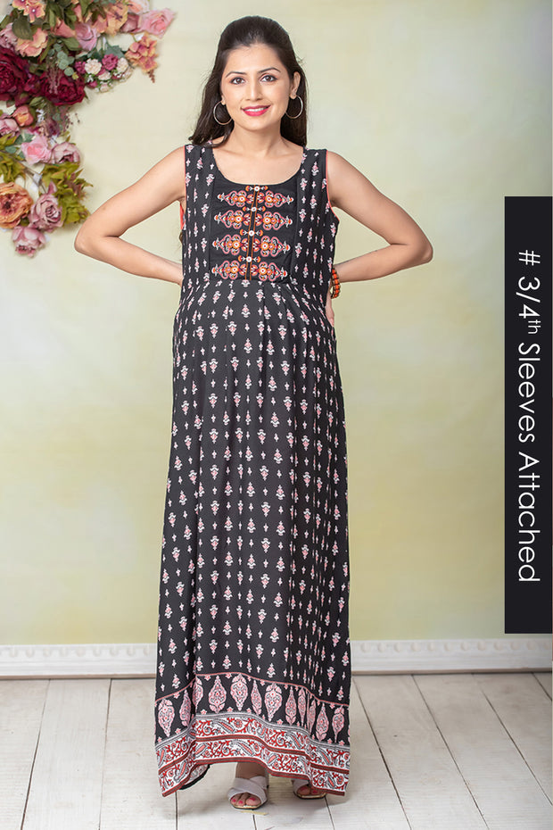 All Over Ethnic Floral Printed Maternity & Nursing Maxi Dress – Black