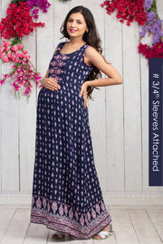 All Over Ethnic Floral Printed Maternity & Nursing Maxi Dress – Navy Blue