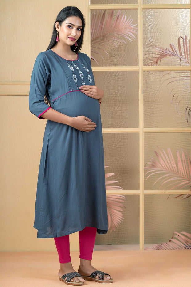 Floral Embroidered With Solid Maternity Kurta - Blue