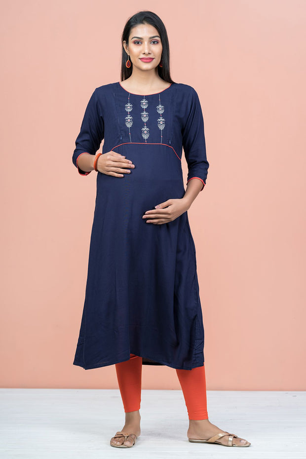 Floral Embroidered With Solid Maternity Kurta - Navy