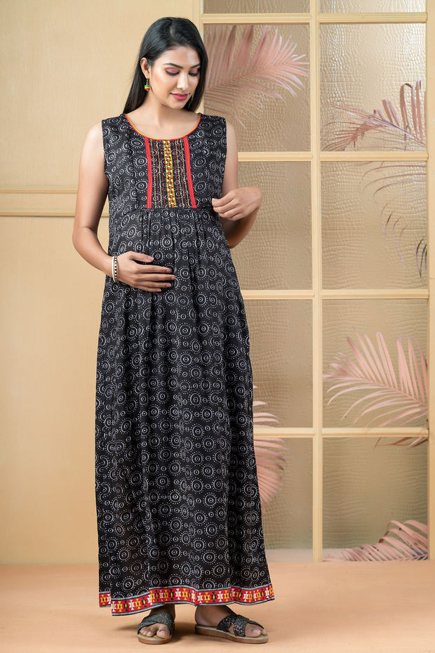 All Over Circular Printed Maxi - Black