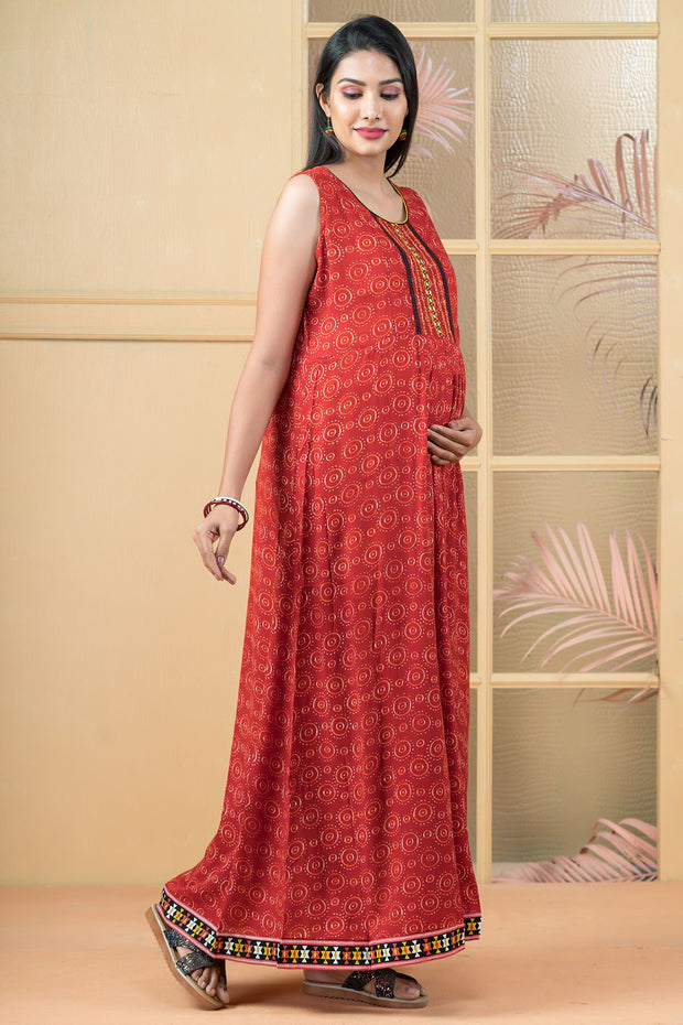 All Over Circular Printed Maxi - Rust