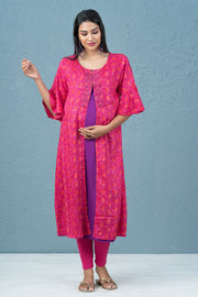 All Over Diamond Print Maternity Kurta - Pink