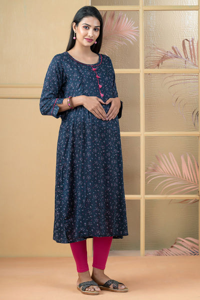 Cluster Dotted Print Maternity Kurta - Navy Blue