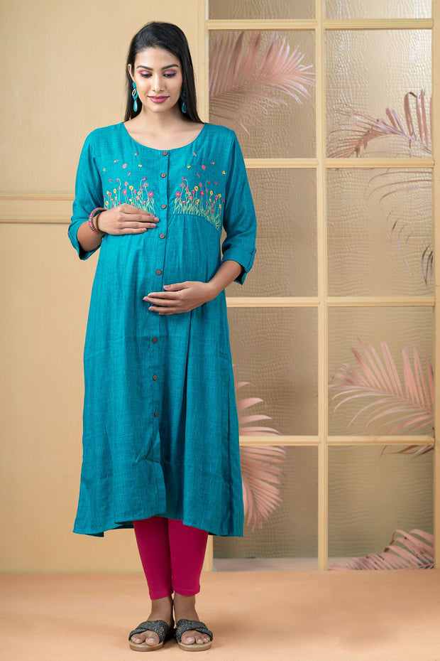 Garden Floral Embroidered Maternity Kurta - Green