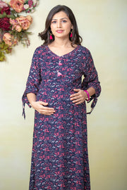 Garden Floral Printed Maternity & Nursing Kurta – Navy Blue - Maybell Womens Fashion