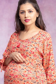 Garden Floral Printed Maternity & Nursing Kurta – Peach - Maybell Womens Fashion