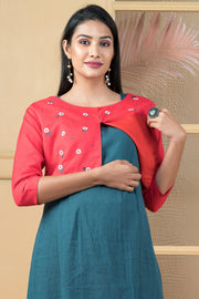 Floral Embroidered Jacket With Solid Inner Maternity Kurta - Green