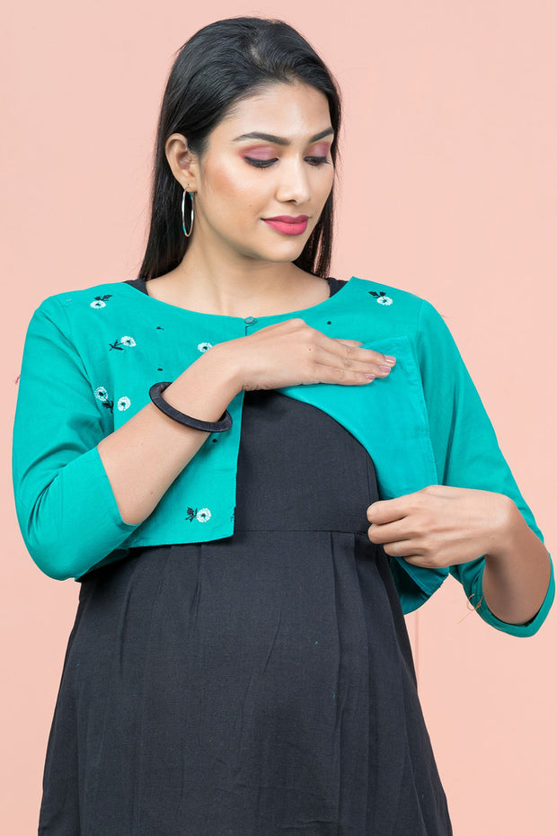 Floral Embroidered Jacket With Solid Inner Maternity Kurta - Black