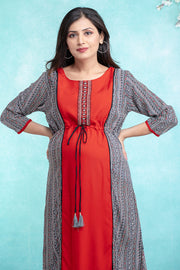 Solid and Printed Paneled  Waist Tie-up Maternity & Nursing Kurta – Rust - Maybell Womens Fashion