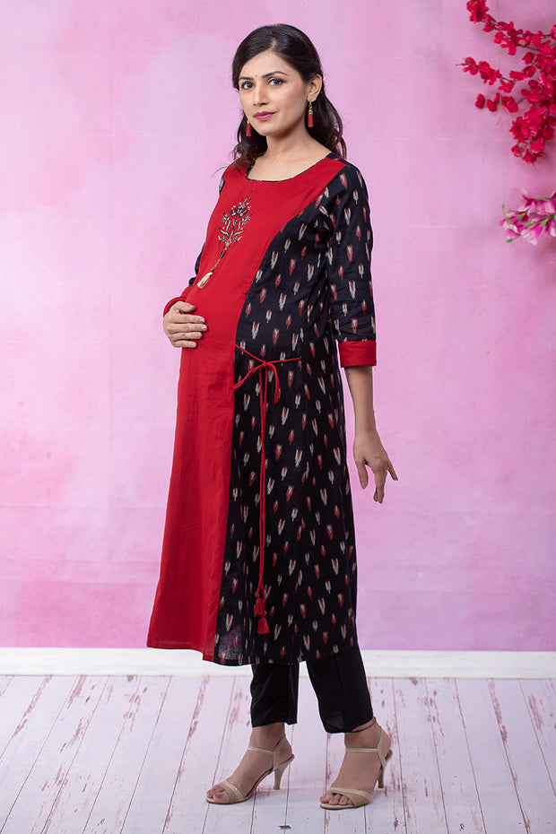Ikkat Paneled Embroidered Maternity & Nursing Kurta – Black - Maybell Womens Fashion