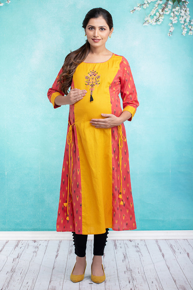 Ikkat Paneled Embroidered Maternity & Nursing Kurta – Peach - Maybell Womens Fashion