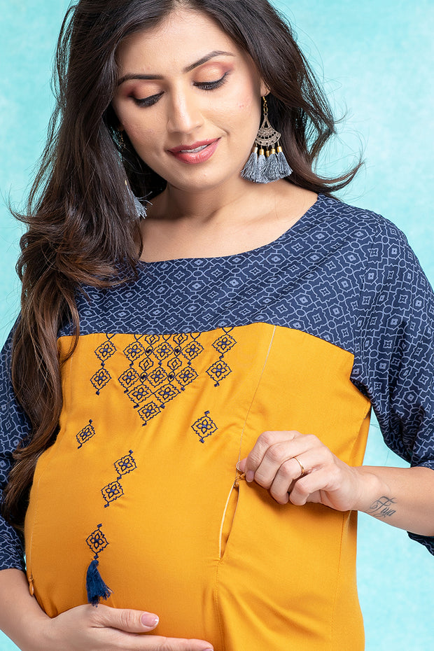 Abstract Geometric Pattern Maternity & Nursing Kurta – Mustard - Maybell Womens Fashion