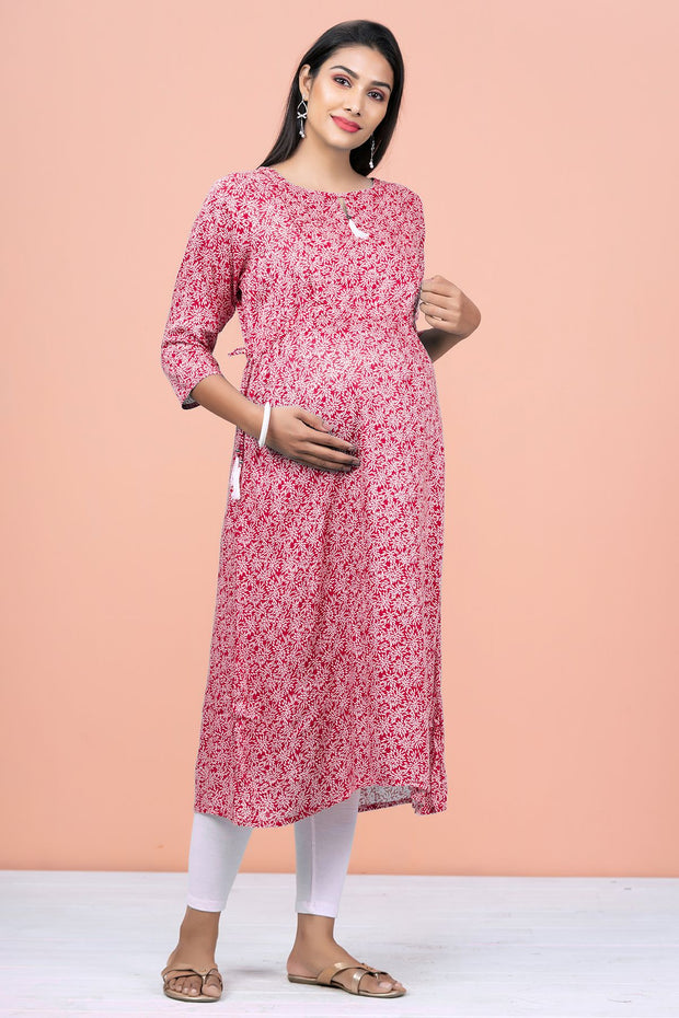 All Over Floral Printed Maternity Kurta - Pink