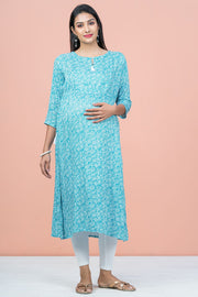 All Over Floral Printed Maternity Kurta - Blue