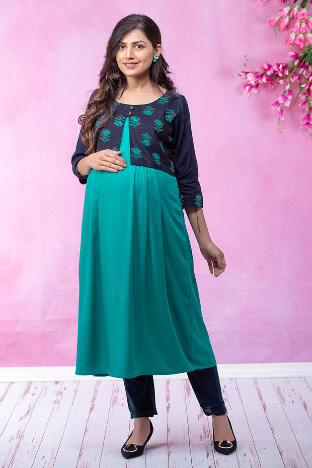 Mughal Floral Printed Maternity & Nursing Kurta with Jacket – Green - Maybell Womens Fashion