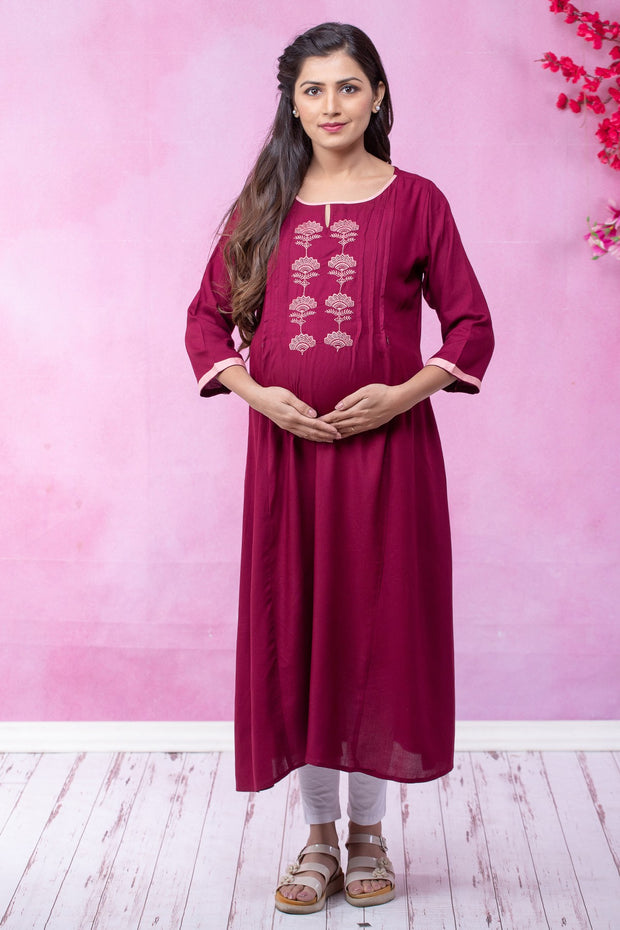 Mughal Floral Embroidered Maternity - Maroon