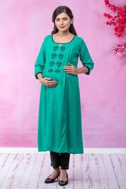Mughal Floral Embroidered Maternity - Sea Green