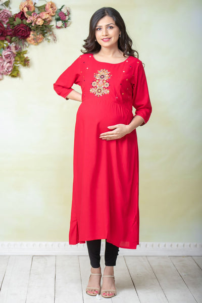 Placement Floral Embroidered Maternity Kurta - Red