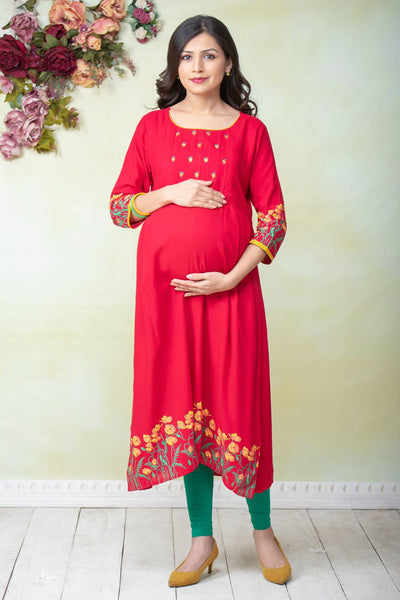 Placement Floral Printed Maternity & Nursing Kurta – Red - Maybell Womens Fashion