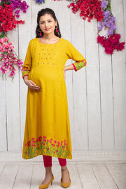 Placement Floral Printed Maternity & Nursing Kurta – Yellow - Maybell Womens Fashion