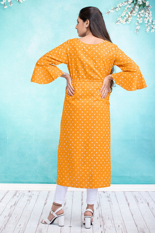 Calico Floral Motif Printed Maternity & Nursing Kurta – Mustard - Maybell Womens Fashion