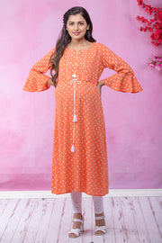 Calico Floral Motif Printed Maternity & Nursing Kurta – Orange - Maybell Womens Fashion