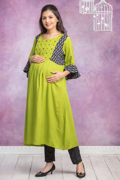 Mirror Embroidered & Ikkat Paneled Maternity Kurta - Lime Green