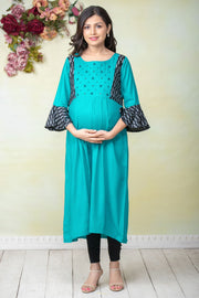 Mirror Embroidered & Ikkat Paneled Maternity Kurta - Turquoise