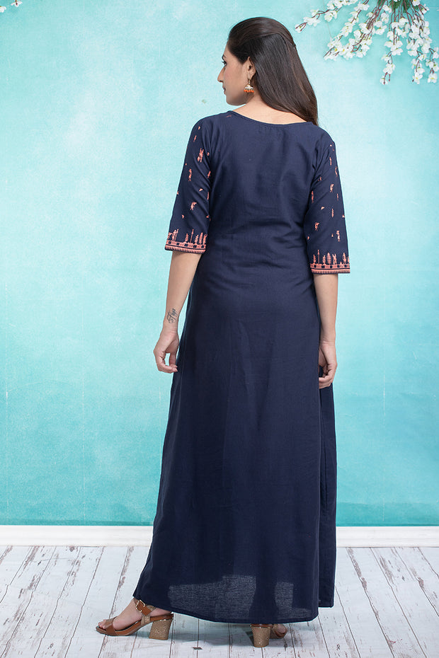 Solid Warli Art Printed Maternity & Nursing Maxi Dress – Navy Blue - Maybell Womens Fashion