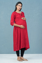 All Over Floral And Leaf Print Maternity Kurta - Red