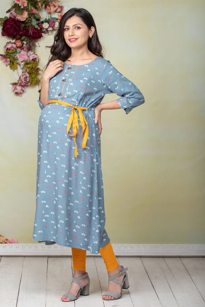 Conversational Cycle Printed Maternity Kurta - Blue