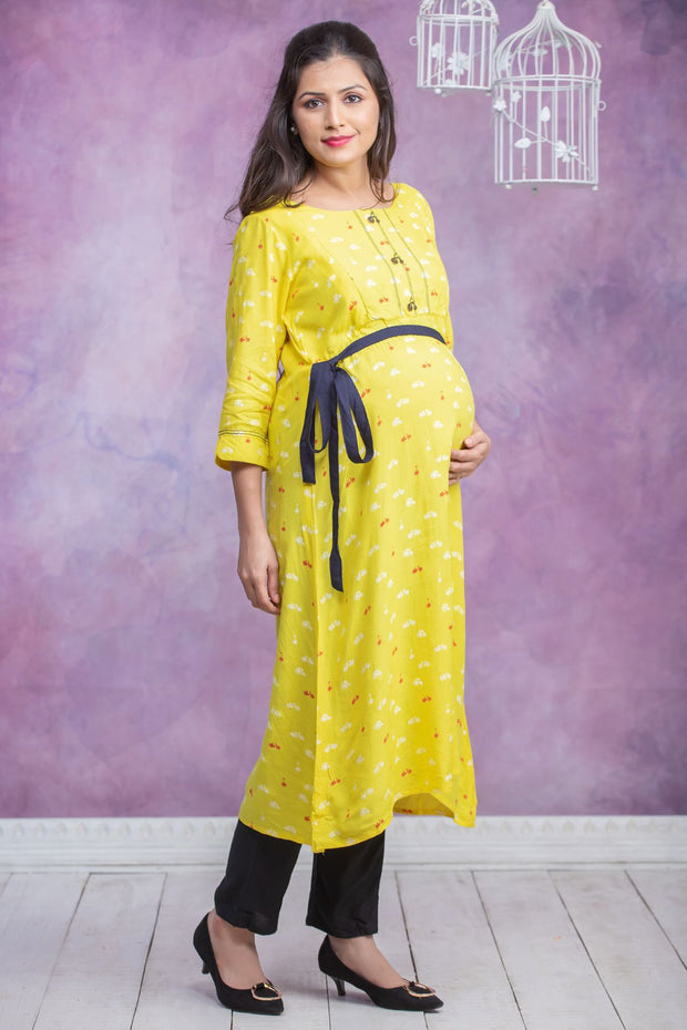Conversational Cycle Printed Maternity Kurta - Yellow