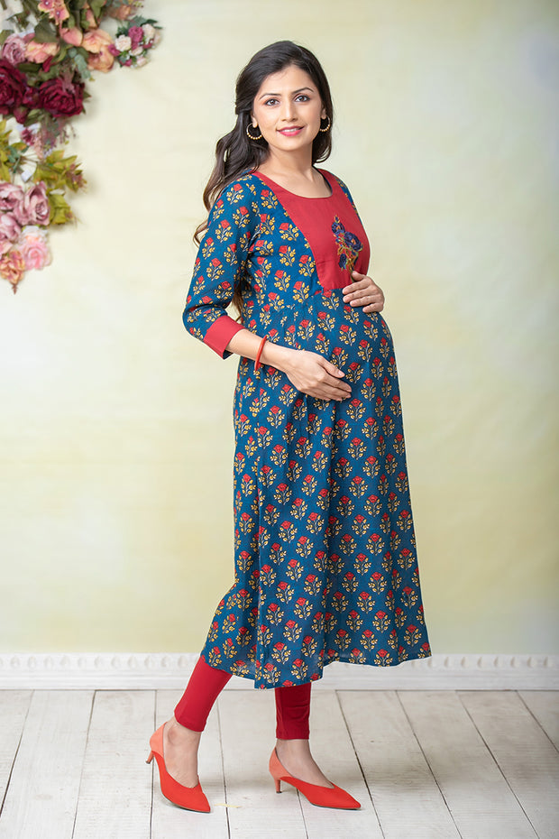 Retro Floral Printed Maternity & Nursing Kurta – Navy Blue - Maybell Womens Fashion