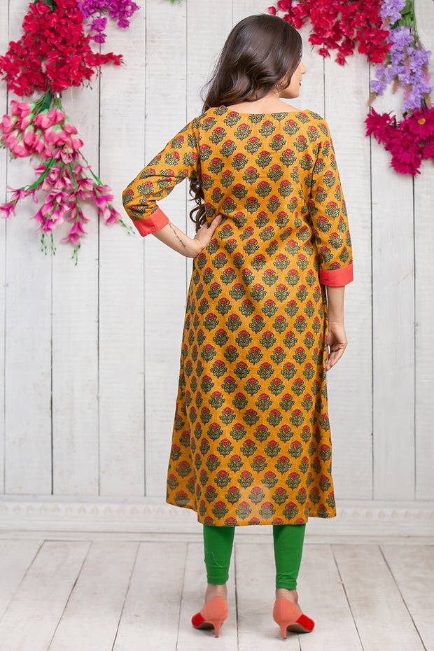 Retro Floral Printed Maternity & Nursing Kurta – Mustard - Maybell Womens Fashion