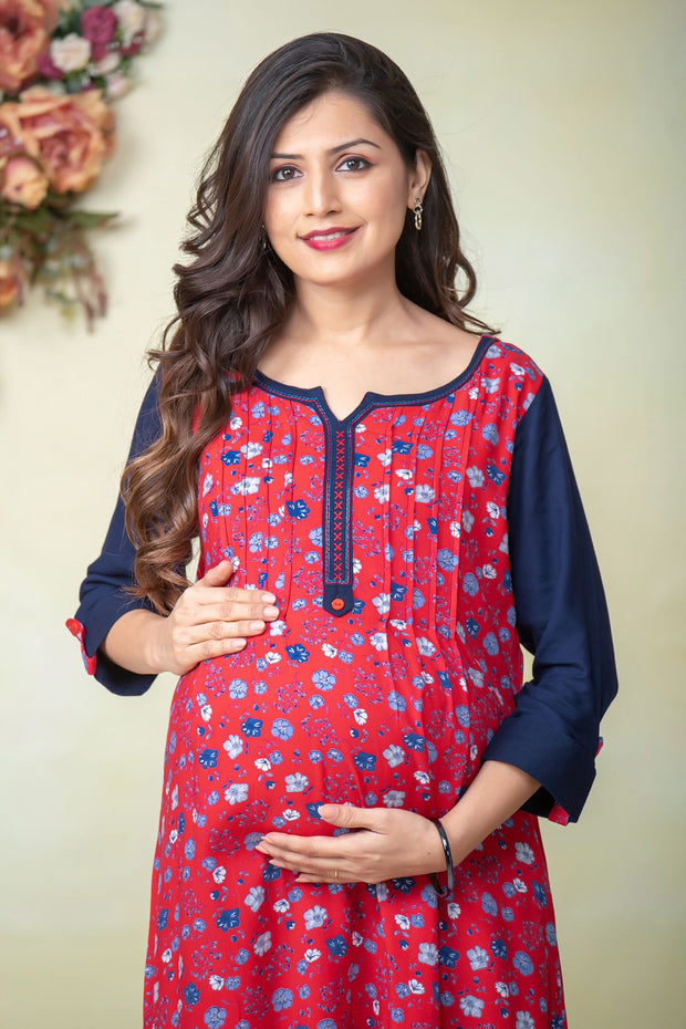 Liberty floral printed maternity kurta - Red