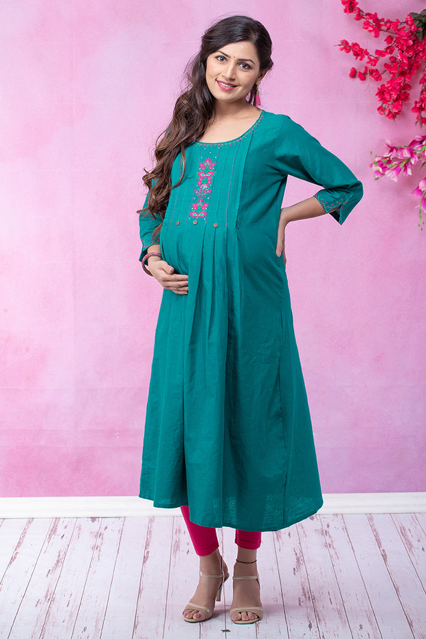 Scandinavian Floral Embroidered Maternity & Nursing Kurta – Green - Maybell Womens Fashion
