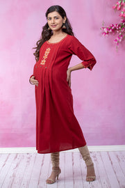 Scandinavian Floral Embroidered Maternity & Nursing Kurta – Red - Maybell Womens Fashion